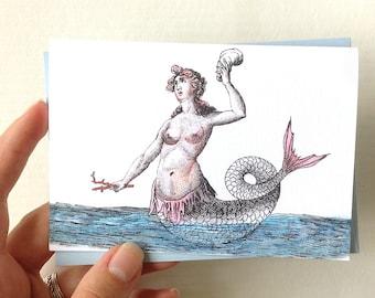 Mermaid Note Card, Blank Mermaid Card