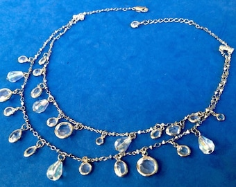 "Vintage! Sparkling party necklace 2 strand crystal dangles up to 16 1/2"" long"