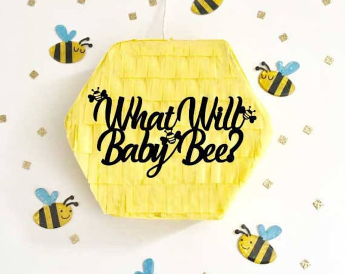 What Will Baby Bee? Piñata, Gender Reveal Pull String Piñata, Baby Bee Party Ideas, Balloon Pop Box, Bee Theme Party