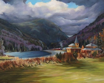 Last Train To Crawford Notch Depot Framed Oil Painting