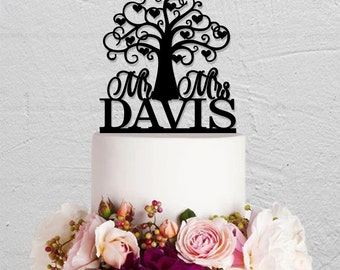 Wedding Cake Topper,Love Tree Cake Topper,Mr and Mrs Cake Topper,Custom Cake Topper With Last Name,Bridal Show Cake Topper