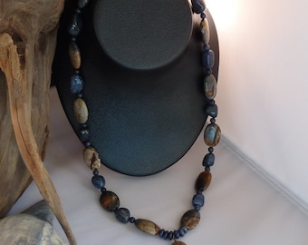 Brown & Blue Natural Stone Necklace
