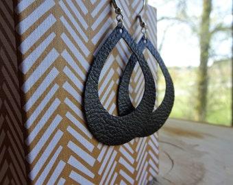 Hollow Teardrop Faux Leather Earrings