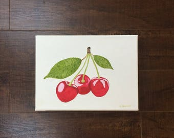 Oil Painting on Canvas Still Life Cherries