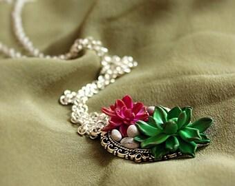 """Long necklace """"Succulents"""""""