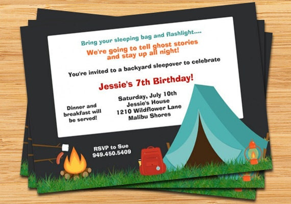 Camping Birthday Party Invitation Campfire Tent And Fully