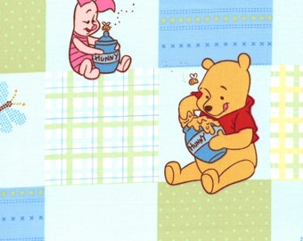 Disney Fabric Winnie the Pooh, Eeyore, Tigger, Piglet Characters Patchwork Disney Cotton Fabric - FQ