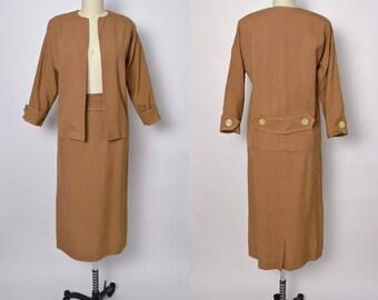 Vintage 1940s 1950s Suit 50s Skirt and Jacket Linen Edith Linn Designer Deadstock NOS