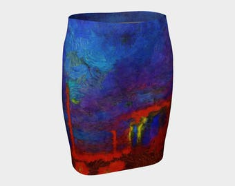 Abstract Red Wheels/Blue Teal Landscape Art A-Line Skirt XS-S-M-L-XL Elegant Pencil Skirt Evening Wear Wearable Art Clothes Women Fashion