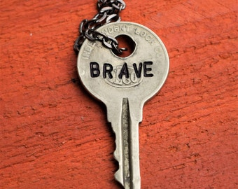 "Hand Stamped Vintage Key ""BRAVE"" Necklace (#415) - Jewelry Necklace Pendant Custom"