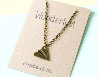 Wanderlust airplane necklace - bronze paper plane necklace - paper airplane necklace - airplane pendant