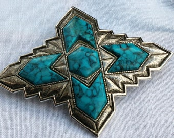 Sarah Coventry Faux Turquoise Brooch/ Pin/ Silver Tone