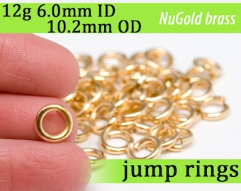 12g 6.0mm ID 10.2mm OD NuGold brass jump rings -- 12g6.00 jumprings gold golden links