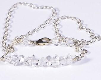 Herkimer Diamond Necklace April Birthstone Herkimer Bar Necklace