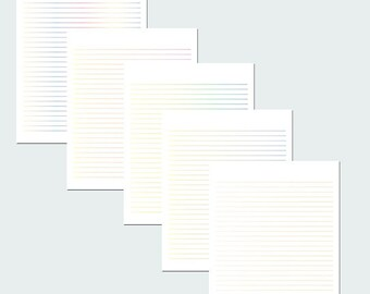 Multicolor Lined Paper / Lined Stationery / Writing Paper / Digital Lined Paper / Printable Paper / PDF