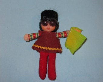 "Vintage 1975 Mattel Honey Hill Bunch Asian ""I.Q."" Doll with Sunglasses and Felt Book"