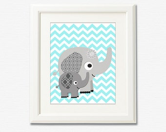 Grey and aqua chevron nursery art print - 8x10 - Elephant, Children wall art, Baby Room Decor, nursery art, zigzag -  UNFRAMED
