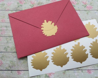 28 metallic gold Pinecone stickers, pinecone decals, gold envelope seals, Christmas stickers, gold gift tag stickers, holiday decor
