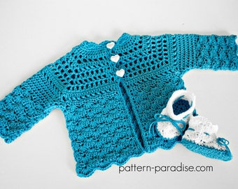 Crochet Pattern, Cardigan and Booties, Shelly, PDF 12-107 INSTANT DOWNLOAD