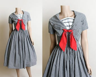 Vintage 1950s Dress - Black Gingham Checkered Sailor Style Cotton Dress - Red Ascot Tie and Buttons - Small