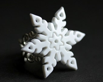 Snowflake Ring. White Snowflake Christmas Ring. Snow Flake Ring. Silver Adjustable Ring. Holiday Jewelry. Handmade Jewelry.