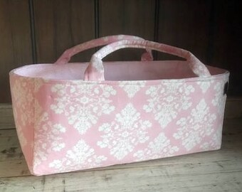 Scrapbook Caddy Storage Organizer | Ultra Firm Storage Bin | Lily Will Pink Damask fabric | Baby Nursery Decor