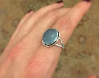 Beautiful Aqua Chalcedony  Ring Size 8.25