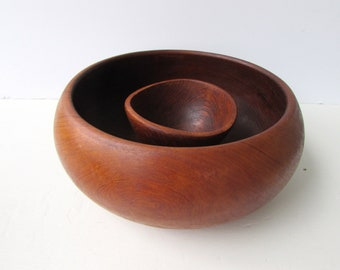 Vintage Wooden Bowls - Mid Century Modern Large Bowl with Small Bowl - Chip and Dip - Salad Bowls - Natural Carved Wood Bowls