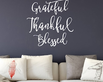 Grateful Thankful Bless Wall Decal