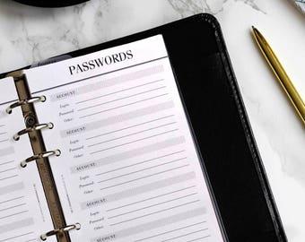 PRINTED Personal Planner Inserts Password Keeper / Log | Printed Kikki K Medium Inserts | Crossbow Printables Printed Personal Planner Pages