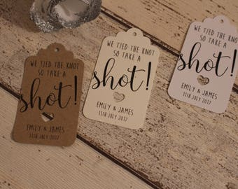 Personalised Rustic Wedding Favour Tags- Take a shot....