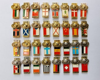 Europe Soccer gifts for soccer coach gifts Soviet vintage Pin collection Complete England Germany Scotland USSR Hungary Italy Youth cup 1984