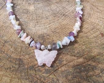 Rose Quartz Butterfly Pendant Necklace