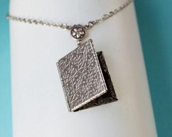 Floral Book  Locket, Locket Necklace, Vintage Locket Necklace, Secret Locket, Jewelry, Wedding,  Holiday Gifts