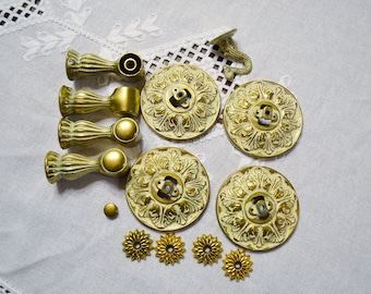 Vintage Metal Hardware Gold and White Hollywood Regency Craft Supplies Craft DIY Project PanchosPorch