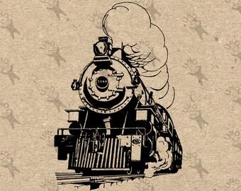 Vintage image Train Locomotive Steam Instant Download Digital printable Black and White retro graphic iron on burlap totes towels etc