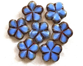 Lot of five 17mm table cut, carved,opaque, denim blue & brown picasso accents Czech glass flower beads C53105