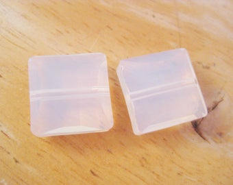 14mm White Opal Square Stairway Swarovski Crystal Beads (Package of 2)