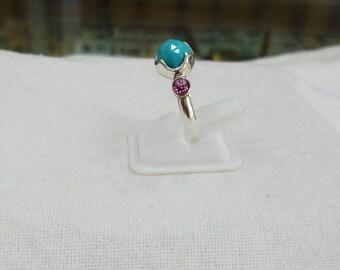 Arizona Turquoise & Garnet Ring