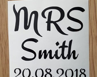 Mr and Mrs Mr and Mr Mrs and Mrs Vinyl Decal 1 set (2 Decals) Personalised Wedding DIY