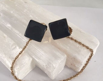 Estate Vintage Sweater Guards Gray Lucite  and Gold tone Robe Chain Shawl Clips / Shawl Holder