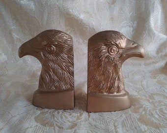 Vintage Set of 2 Gold Eagle Head Bookends Library Office Decor