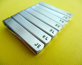 Set of 7 Personalized Tie Bars - Initials - Custom stamped Tie Clips