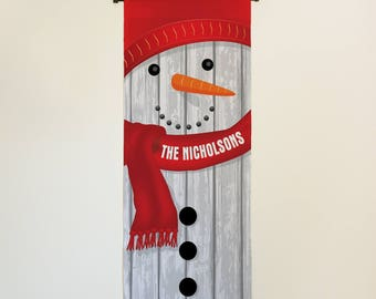 Snowman Personalized Wall Hanging home decor banner door decor personalized customized & Snowman door decor | Etsy