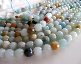 Amazonite Beads in Pale Blue, Pale Green, Tan and Cream Shades, 7mm to 8mm, Approx 48 Pieces, 1 Strand 15 Inches, Faceted, Polished Stone