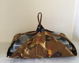 Thermal, Insulated, Casserole Carrier with Roosters