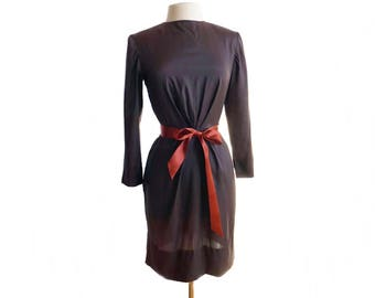 Vintage 60s brown silk dress/ chocolate brown cocktail dress/ orange ribbon belt/lustrous sleek fabric/ 1960s long sleeve dress