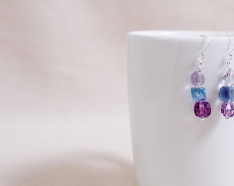Earrings, fluorite beads, multi-color nuggets, sterling silver ear wires