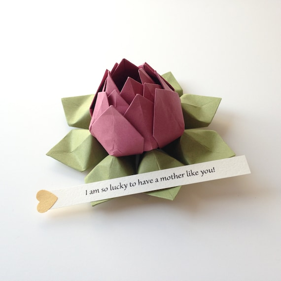 Personalized origami lotus flower paper flower rhubarb personalized origami lotus flower paper flower rhubarb moss green gift box mothers day get well birthday can send directly mightylinksfo Choice Image