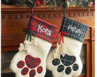 Dog Stocking, paw stocking, cat stocking, fur baby stocking, personalized stocking, name stitched, pet stocking